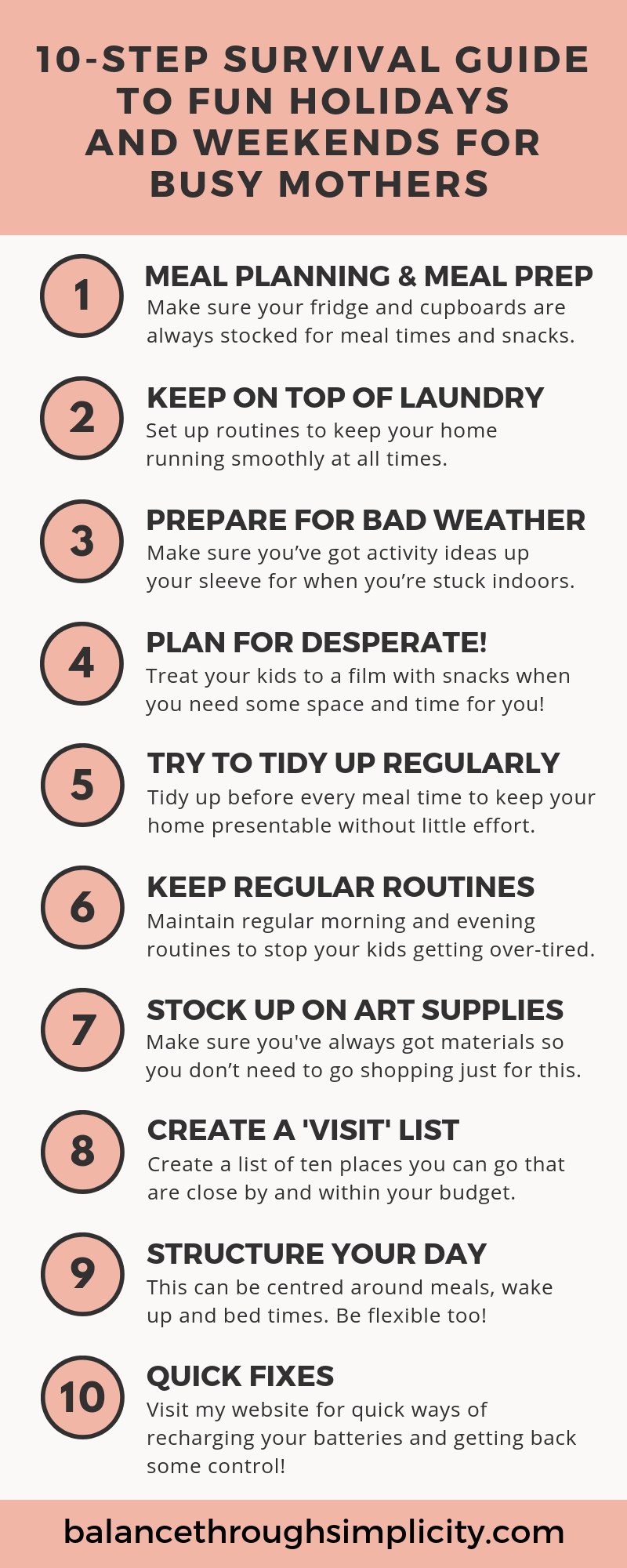 10 Step Survival Guide To Fun Weekends And Holidays For The Busy Mother
