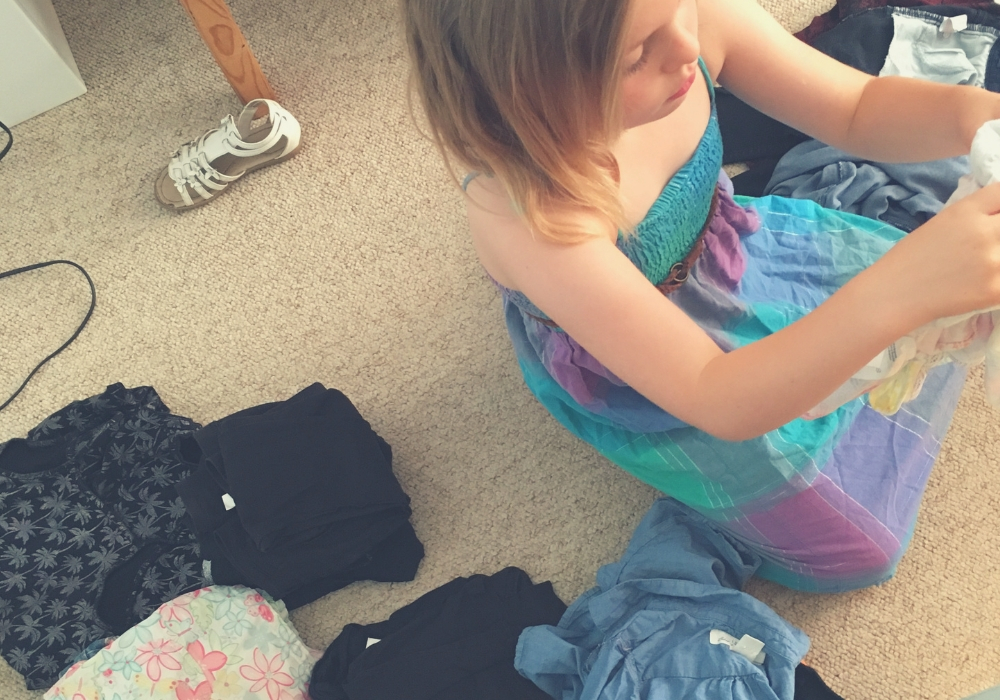 Kids, chores - folding clothes