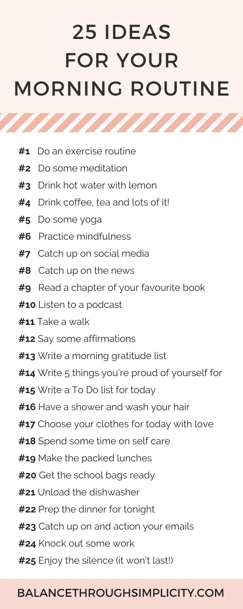 25 ideas for your morning routine