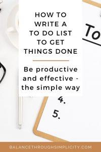 How to write a To Do list
