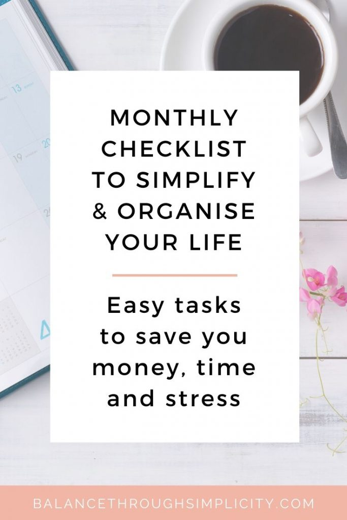 9 things to do at the start of each month to simplify and organise your life